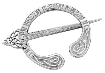 Pennanular Brooch Sterling Silver Repeat Celtic Swivel Pin Style 45mm