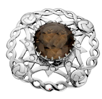 Plaid Brooch Crafted Sterling Silver Open Knotwork Set Smokey Quartz
