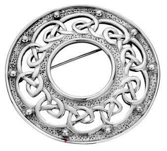 Plaid Brooch Crafted Sterling Silver Round Open Celtic Ropework 50mm