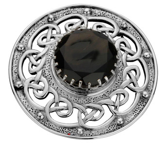 Plaid Brooch Crafted Sterling Silver Celtic Ropework Smokey Quartz 50mm