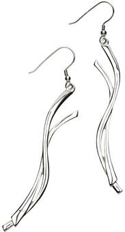 Earrings Sterling Silver Celtic Inspired Entwined Ribbon Shape 67mm