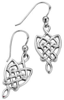 Earrings Sterling Silver Pierced Fitting Drop Style Celtic Interlace