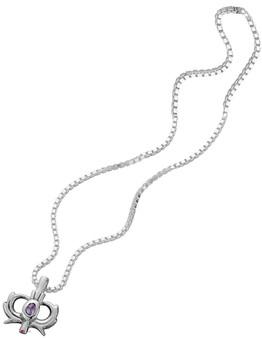 Sterling Silver Thistle Amethyst Set Pendant 10mm