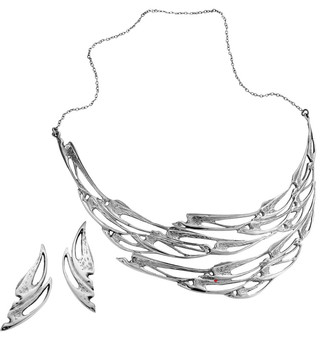 Set Necklace Earrings Sterling Silver Flight Swallows Collection