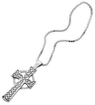 Pendant Cross Hallmarked Sterling Silver Classic Rope Design 30mm