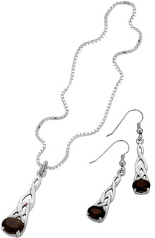 Set Smokey Quartz Stone Pendant Drop Earrings Sterling Silver Celtic