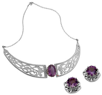 Set Collarette Necklace Stud Earrings Sterling Silver Celtic Amethysts