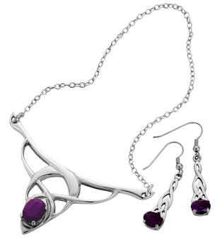 Set Necklace Drop Earrings Sterling Silver Celtic Style Amethyst Stones
