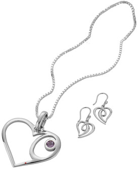 Set Earrings Amethyst Pendant Sterling Silver Hearts Celtic Swirl Style