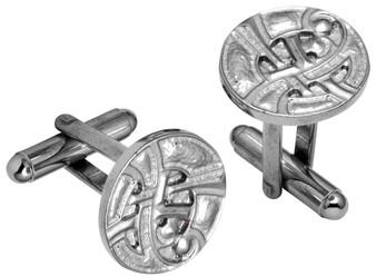 Cufflinks From Plated Bright Palladium Round Celtic Interlace Design