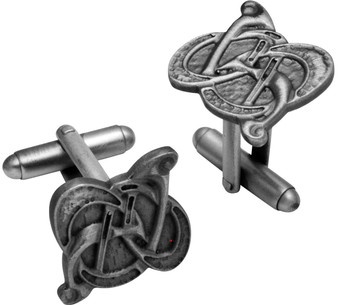 Cufflinks Plated Antique Silver Finish Featuring Celtic Swirl Design