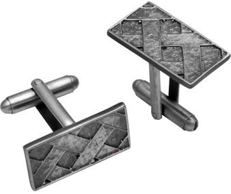 Cufflinks Plated Silver Finish Rectangular Shape Basketweave Design