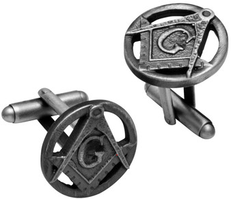 Cufflinks Plated Silver Finish Featuring Masonic Square & Compasses