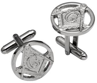 Cufflinks From Plated Bright Palladium Masonic Square & Compasses