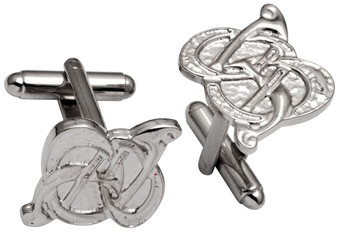 Cufflinks Plated Bright Palladium Featuring Celtic Swirl Design