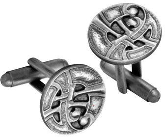 Cufflinks Plated Antique Silver Finish Round Celtic Interlace Design