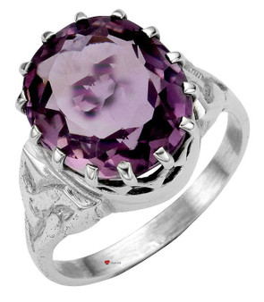 Ring Crafted in Sterling Silver with Amethyst Stone Mounted Over Celtic Knotwork