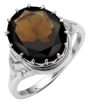 Ring Crafted in Sterling Silver with Smokey Quartz Stone Mounted Over Celtic Knotwork