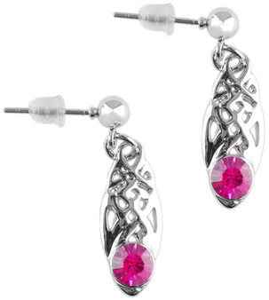 Celtic Birthstone Drop Earrings October Jewellery Silver Plated Pink Stone Scottish Gift