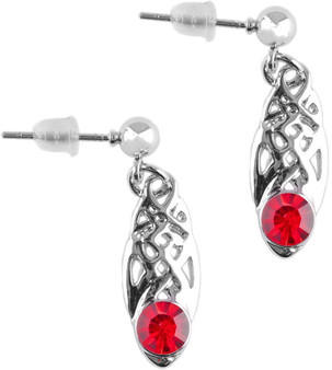 Celtic Birthstone Drop Earrings January Jewellery Silver Plated Red Stone Scottish Gift