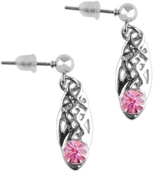 Celtic Birthstone Drop Earrings June Jewellery Silver Plated Pink Stone Scottish Gift
