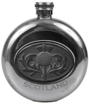 5oz Round Hip Flask With Scottish Thistle Emblem Design