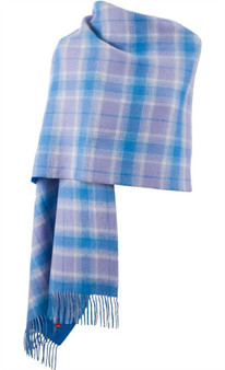 Lambswool Double Faced Stole In Borwick-Lilac Blue Check Design 73 cm Wide