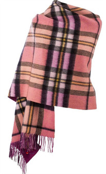 Lambswool Double Faced Stole In Raspberry Gold Check Design 73 cm Wide