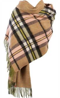 Lambswool Double Faced Stole In Sherwood Gold Check Design 73 cm Wide
