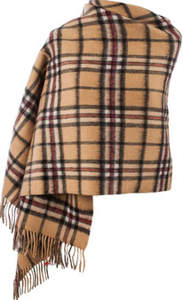 Lambswool Double Faced Stole In Thomson Camel Tartan Design 73 cm Wide