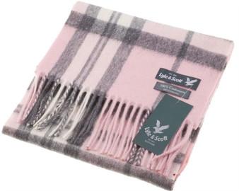 Lyle & Scott Unisex Cashmere Scarf In Thomson Pink Tartan Design 25.5 cm Wide