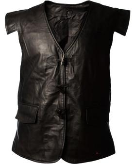 Waistcoat Leather Jacobite Black Long