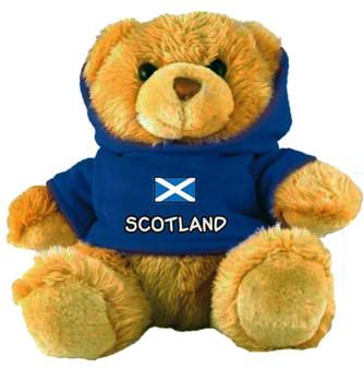 Adorable Fluffy Little Teddy Bear Souvenir Toy with A Blue Scotland Jumper