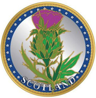 Scottish Souvenir Gift Coin With Map On Flip Side Thistle Design Souvenir Coin
