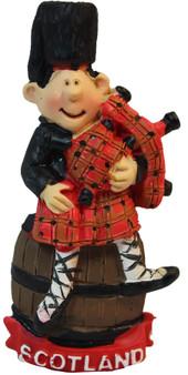 Scottish Resin Figurine Piper Standing on Barrel Gift Scottish Resin Figurine