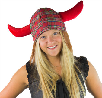 Jessie Tartan Viking Fun Novelty Scottish Hat Great For Rugby Games