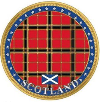 Scottish Souvenir Gift Coin With Map On Flip Side Tartan Design Souvenir Coin