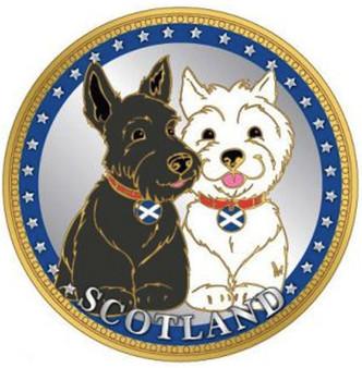 Scottish Souvenir Gift Coin With Map On Flip Side Dogs Design Souvenir Coin
