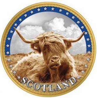 Scottish Souvenir Gift Coin Map On Flip Side Highland Cow Design Souvenir Coin