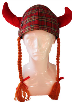 Jessie Tartan Pigtails Fun Novelty Scottish Hat Great For Rugby Games