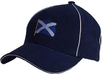 Navy Baseball Cap Saltire Scottish Design White Piping Scotland Cap