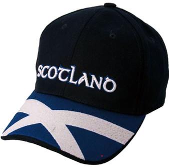 Navy Baseball Cap Saltire Peak Scottish Design Scotland Cap