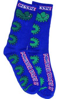 Long Nessie Monster Socks Blue Scottish Socks Gift Nessie Design