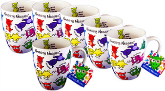 Pack of 6 Tea and Coffee Mugs with The Naughty Nessies Loch Ness Mascots