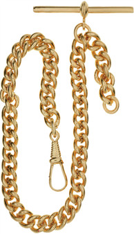 Single Albert Chain for Pocket Watch - Heavyweight Rolled Gold Finish