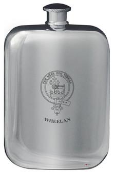 Wheelan Family Crest Design Pocket Hip Flask 6oz Rounded Polished Pewter