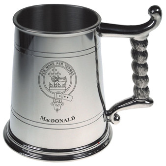 MacDonald Crest Tankard with Rope Handle in Polished Pewter 1 Pint Capacity