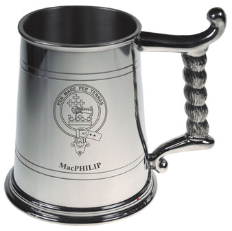 MacPhilip Crest Tankard with Rope Handle in Polished Pewter 1 Pint Capacity