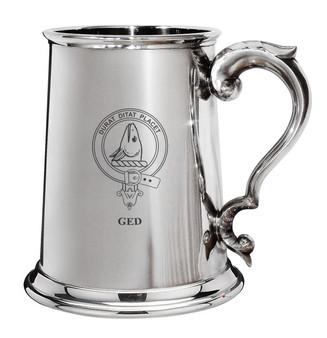 Ged Family Crest Polished Pewter 1 Pint Tankard with Scroll handle