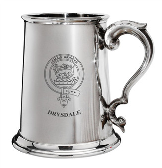 Drysdale Family Crest Polished Pewter 1 Pint Tankard with Scroll handle